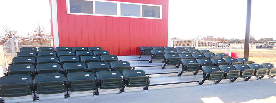 Enclosed Interlocking Decking + Stadium Chair Back Seats - Baseball